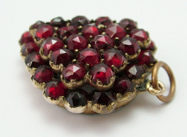Antique Victorian c1890 Gilt Metal Garnet Pavé Set Heart Charm with Locket Back Antique Charm - Sandy's Vintage Charms