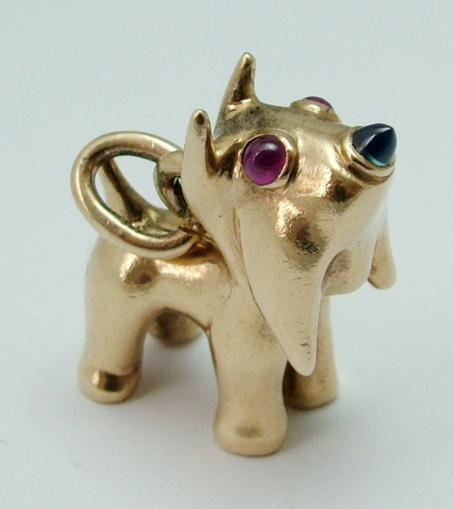 Large Very Heavy Vintage 1950's Solid 9ct Gold Dog Charm with Ruby & Sapphire Eyes & Nose Gold Charm - Sandy's Vintage Charms