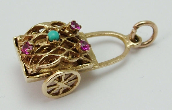 Large Vintage 1950's Opening 9ct Gold Fruit Cart Charm - Ruby & Turquoise Set with Moving Wheels Gold Charm - Sandy's Vintage Charms