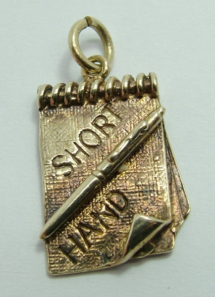 Vintage 1980's Silver Shorthand Notebook & Pen Charm HM 1982 Silver Charm - Sandy's Vintage Charms