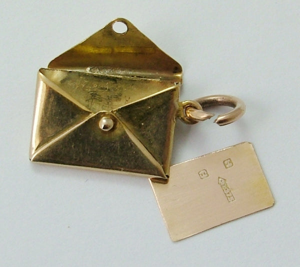 Vintage 1950's 9ct Gold Opening Envelope Charm with Removable Letter Inside Gold Charm - Sandy's Vintage Charms