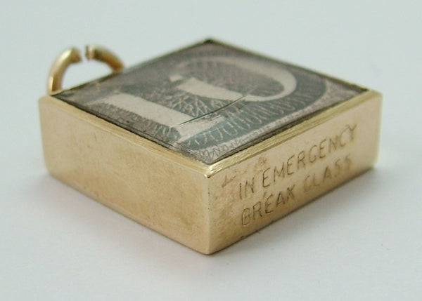 Vintage 1960's 9ct Gold 'In Emergency Break Glass' Ten Pound Note Charm Gold Charm - Sandy's Vintage Charms