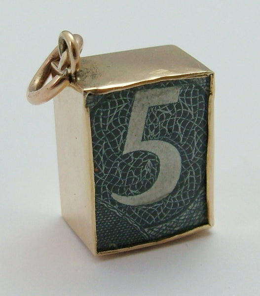 Vintage 1950's 9ct Gold 'In Emergency Break Glass' Five Pound Note Charm Gold Charm - Sandy's Vintage Charms