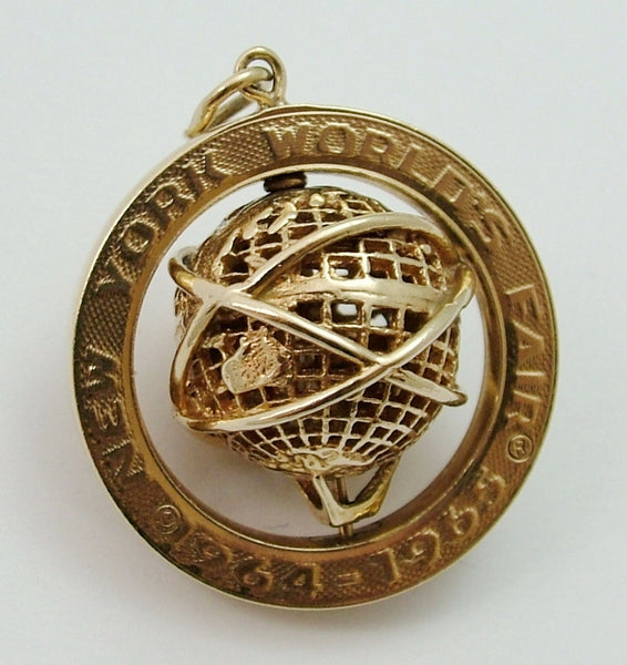Large Vintage 1960's 14ct 14k Gold Rotating World's Fair Globe Charm Gold Charm - Sandy's Vintage Charms
