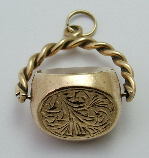Large 1990's Solid 9ct Gold Spinner Fob Charm HM 1992 Gold Charm - Sandy's Vintage Charms