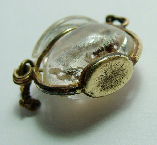 Antique Brass & Czech Glass Reverse Painted Intaglio Goldfish Bowl Charm Antique Charm - Sandy's Vintage Charms