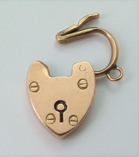 Antique Edwardian c1910 9ct Rose Gold Heart Shaped Padlock Charm or Pendant Rose Gold Charm - Sandy's Vintage Charms