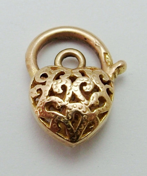 Small Vintage 1980's 9ct Yellow Gold Filigree Patterned Padlock Bracelet Fastener or Charm Gold Charm - Sandy's Vintage Charms