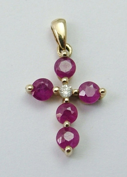 Modern Secondhand 9ct Gold, Ruby & Diamond Cross Charm or Pendant Gold Charm - Sandy's Vintage Charms