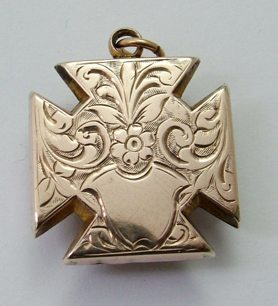 Antique Victorian 9ct Rose Gold Plated Maltese Cross Locket Charm with Agate Antique Charm - Sandy's Vintage Charms