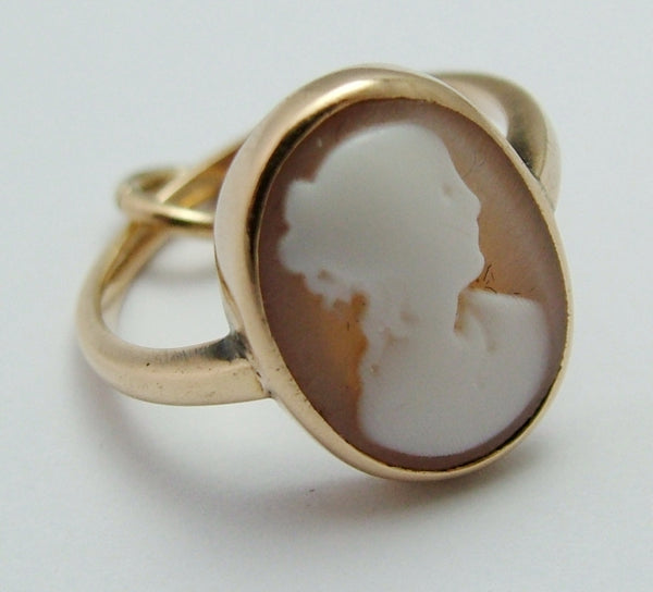 Tiny Antique Edwardian c1915 9ct Gold Cameo Ring - Charm or Pendant Antique Charm - Sandy's Vintage Charms