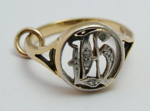 "Tiny Antique Edwardian c1910 18ct Gold & Diamond ""H"" Signet Ring - Charm or Pendant Antique Charm - Sandy's Vintage Charms"