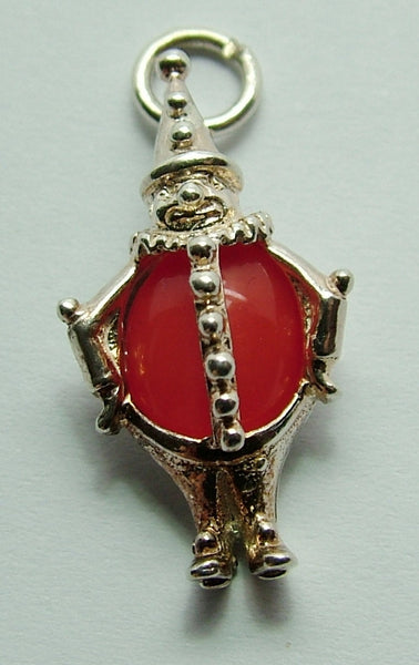 1970's Silver & Orange Crystal Clown Charm by TOBY Silver Charm - Sandy's Vintage Charms