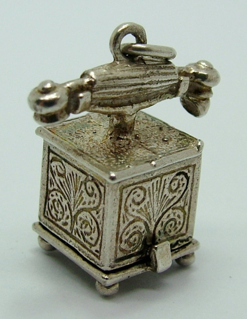 1960's Silver Opening Telephone Charm Lady & Gentleman on the Phone Inside Silver Charm - Sandy's Vintage Charms
