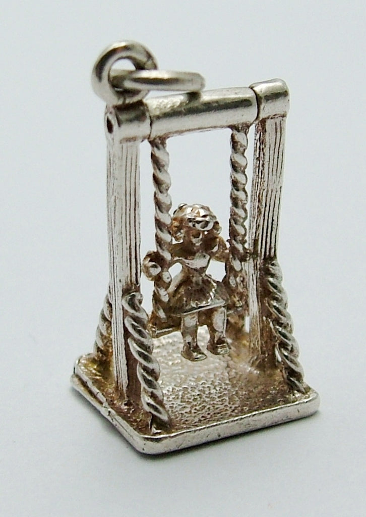 Vintage 1970's Silver Moving Girl on a Swing Charm Silver Charm - Sandy's Vintage Charms