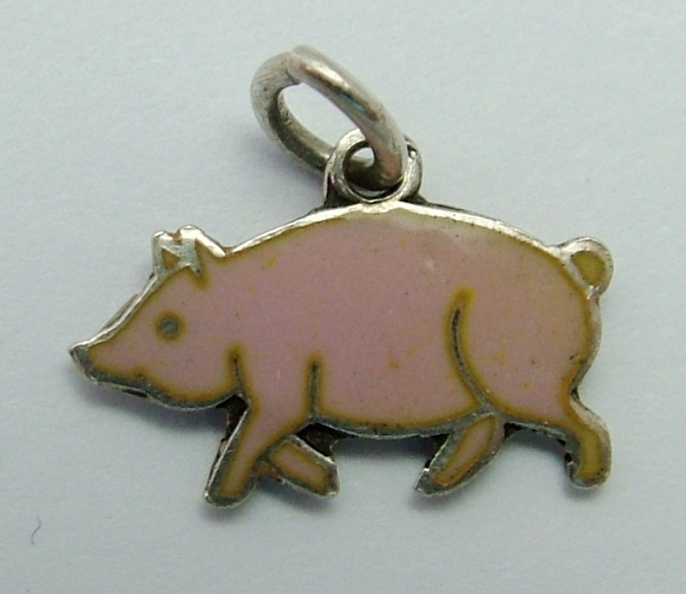 Small Vintage 1950's Silver & Pink Enamel Pig Charm Enamel Charm - Sandy's Vintage Charms