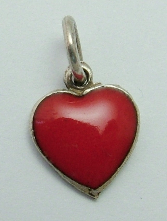 Small Vintage 1950's Silver & Red Enamel Heart Charm Enamel Charm - Sandy's Vintage Charms