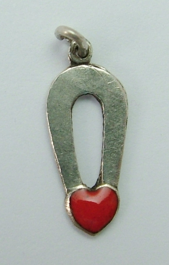 Small Vintage 1950's Silver & Enamel Magnet with Heart Charm Enamel Charm - Sandy's Vintage Charms