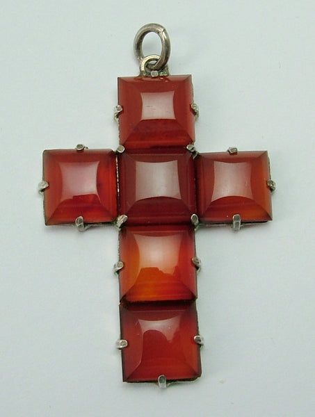 Large Vintage 1920's/30's Silver & Agate Cross Charm or Pendant 1920s-1950s Charm - Sandy's Vintage Charms