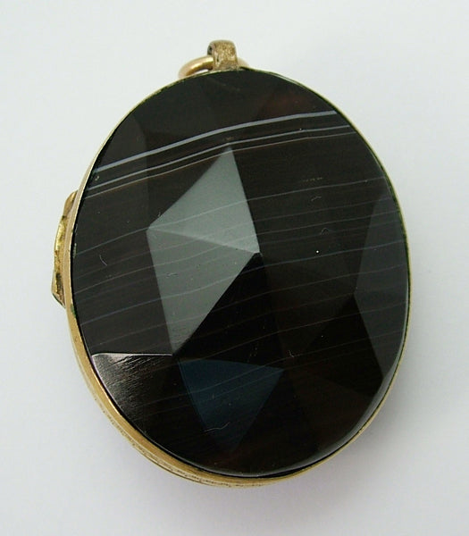 Very Large Antique Victorian c1890 Gilt Brass & Faceted Banded Agate Locket Antique Charm - Sandy's Vintage Charms
