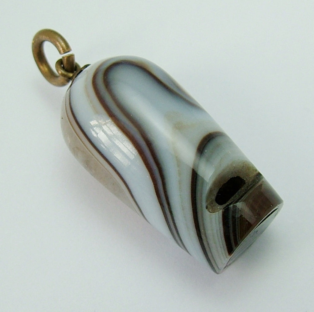 Antique Victorian c1900 Brass & Banded Agate Working Whistle Charm Antique Charm - Sandy's Vintage Charms