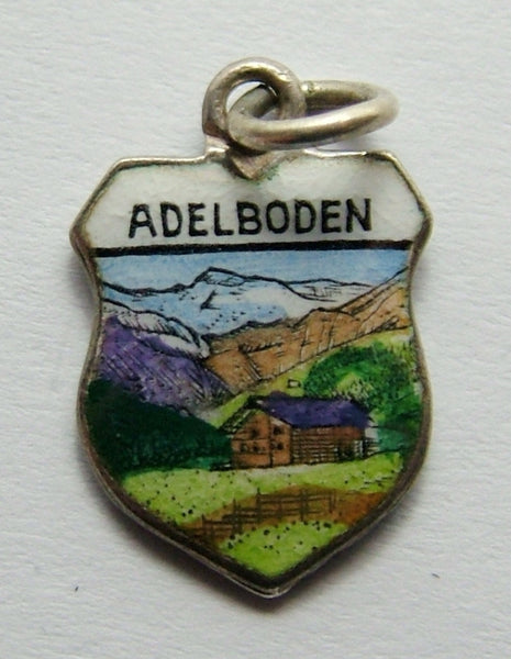 1960's Silver & Enamel Shield Charm for ADELBODEN in Switzerland Shield Charm - Sandy's Vintage Charms