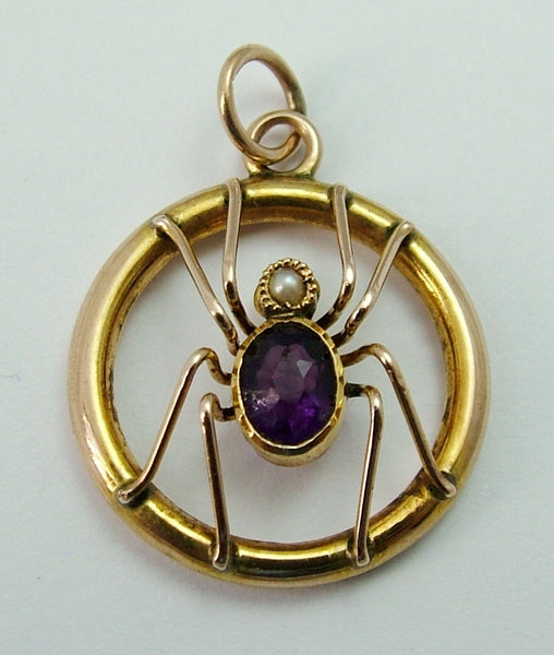 Antique Edwardian c1905 9ct Gold, Pearl & Amethyst Spider Charm