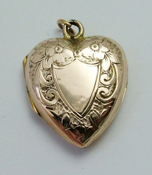 Antique Edwardian 9ct Rose Gold Heart Charm Locket with Flowers & Leaves HM 1909 Antique Charm - Sandy's Vintage Charms