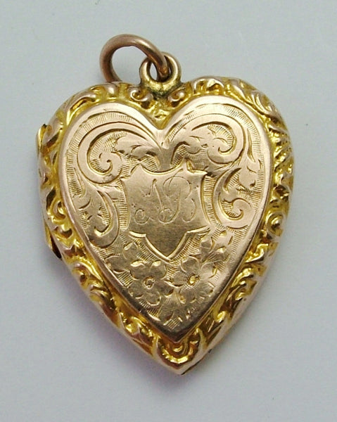 Large Antique Edwardian 9ct Rose Gold Back & Front Heart Locket Antique Charm - Sandy's Vintage Charms