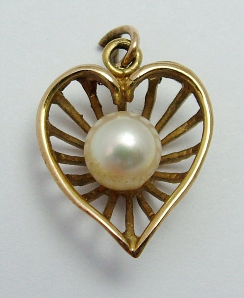 Vintage 1960's 9ct Gold Filigree Heart Charm with Cultured Pearl Gold Charm - Sandy's Vintage Charms