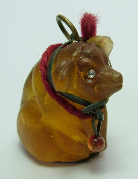 Edwardian c1910 Amber/Orange Frosted Czech Glass Pig Charm Antique Charm - Sandy's Vintage Charms