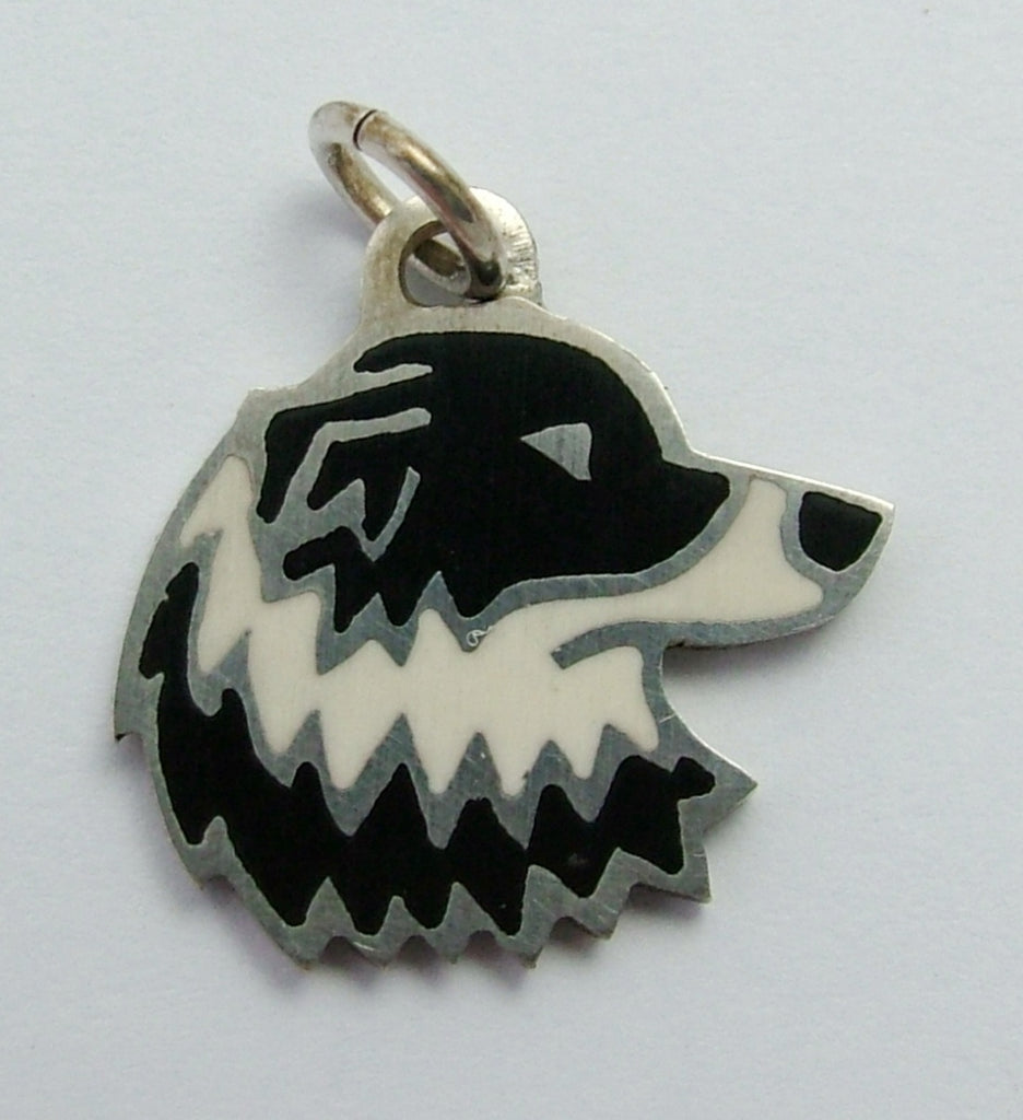 1990's Silver Inlaid Black & White Border Collie Dog Charm HM 1990 Silver Charm - Sandy's Vintage Charms