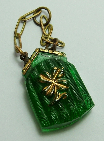 Edwardian c1910 Green Frosted Czech Glass Purse/Bag Charm Antique Charm - Sandy's Vintage Charms