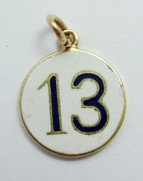 Vintage 1930's 14ct 14k Gold Double Sided Enamel Lucky No.13 Charm