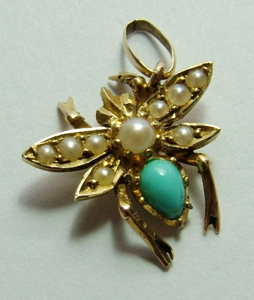 Antique Edwardian c1910 15ct Gold, Pearl & Turquoise Bug Insect Charm Antique Charm - Sandy's Vintage Charms
