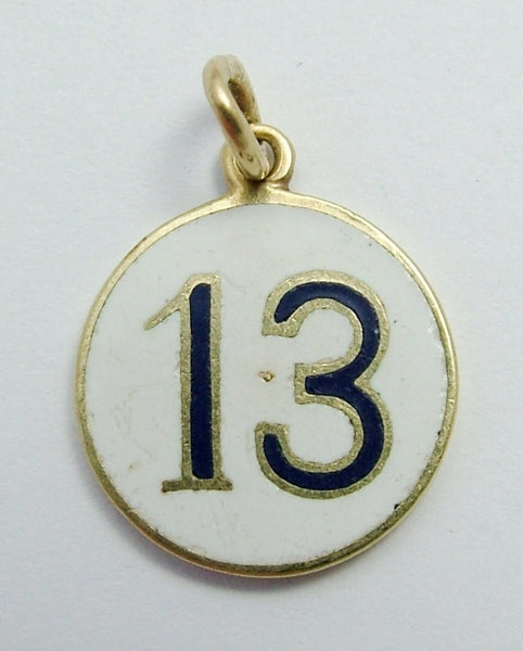 Vintage 1930's 14ct 14k Gold Double Sided Enamel Lucky No.13 Charm 1920s-1950s Charm - Sandy's Vintage Charms