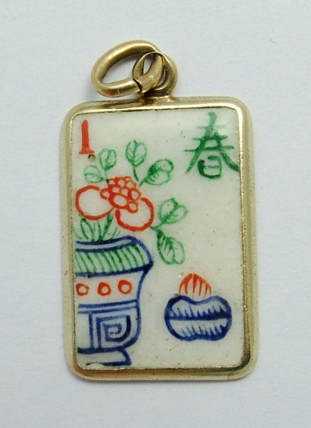 Vintage 1930's 14kt 14ct Gold & Enamel Mahjong Tile Charm Gold Charm - Sandy's Vintage Charms