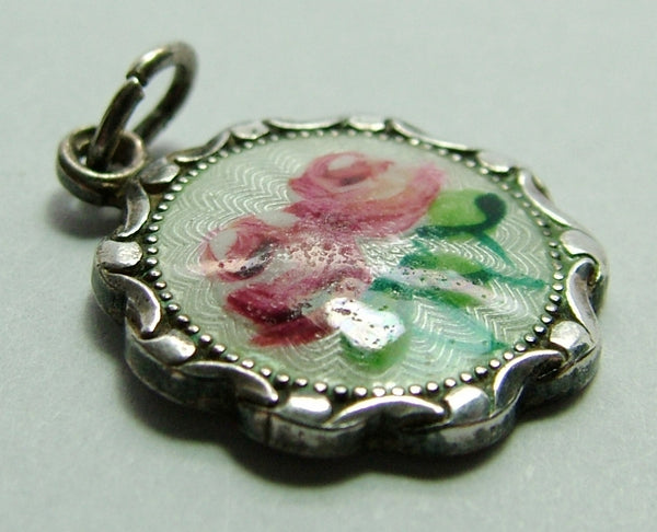 1950's Silver & Guilloche Enamel Disk Charm with Pink Roses Enamel Charm - Sandy's Vintage Charms