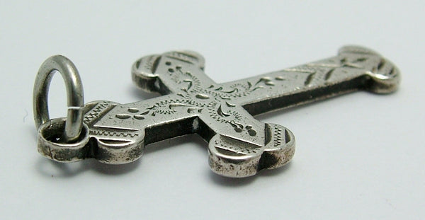 Antique Victorian HM 1898 Silver Engraved Cross Pendant or Charm Antique Charm - Sandy's Vintage Charms