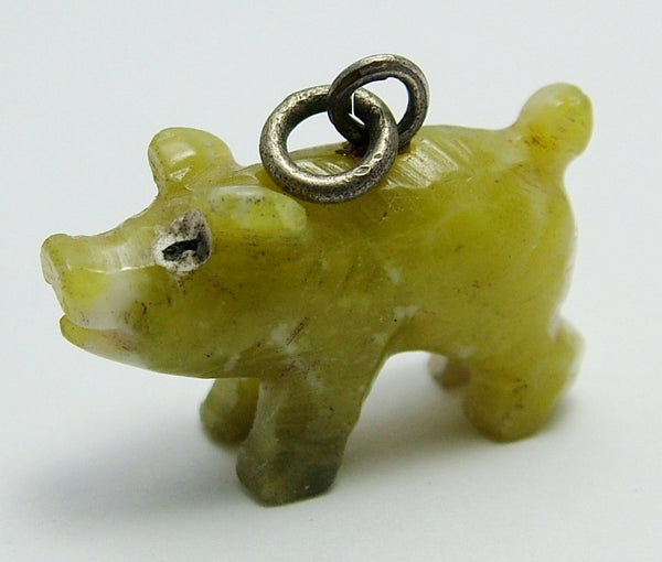 Antique Edwardian c1910 Carved Connemara Marble & Silver Lucky Pig Charm Antique Charm - Sandy's Vintage Charms