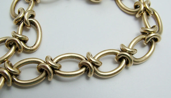 Heavy Vintage 1950's English Solid 9ct Gold Bracelet with Bolt Ring Fastener Bracelet - Sandy's Vintage Charms