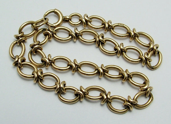 Vintage 1980's English Solid 9ct Gold Bracelet with Bolt Ring Fastener Bracelet - Sandy's Vintage Charms