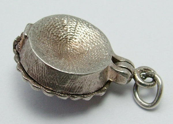 Vintage 1960's Silver Opening Pie Charm with Enamel Painted Bone Inside Silver Charm - Sandy's Vintage Charms