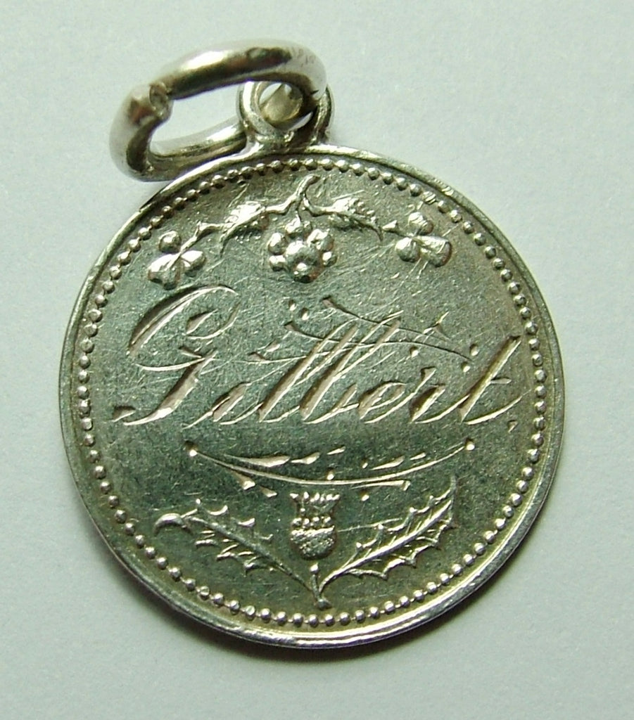 Edwardian Silver Engraved Norwich Cathedral Love Token Disc Charm GILBERT Antique Charm - Sandy's Vintage Charms
