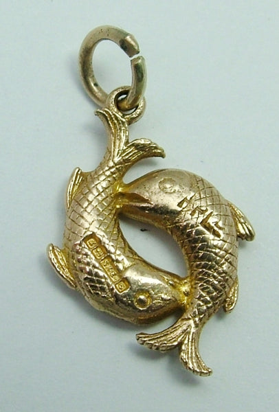 Vintage 1950's Solid 9ct Gold Pisces Fish Zodiac Charm Gold Charm - Sandy's Vintage Charms