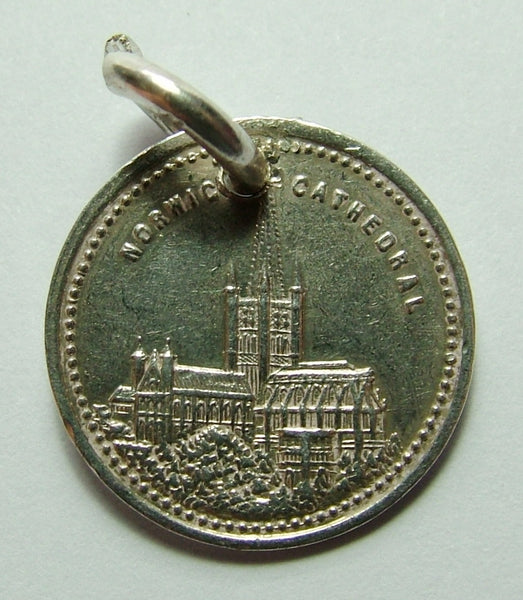Edwardian Silver Engraved Norwich Cathedral Love Token Disc Charm GORDON Antique Charm - Sandy's Vintage Charms
