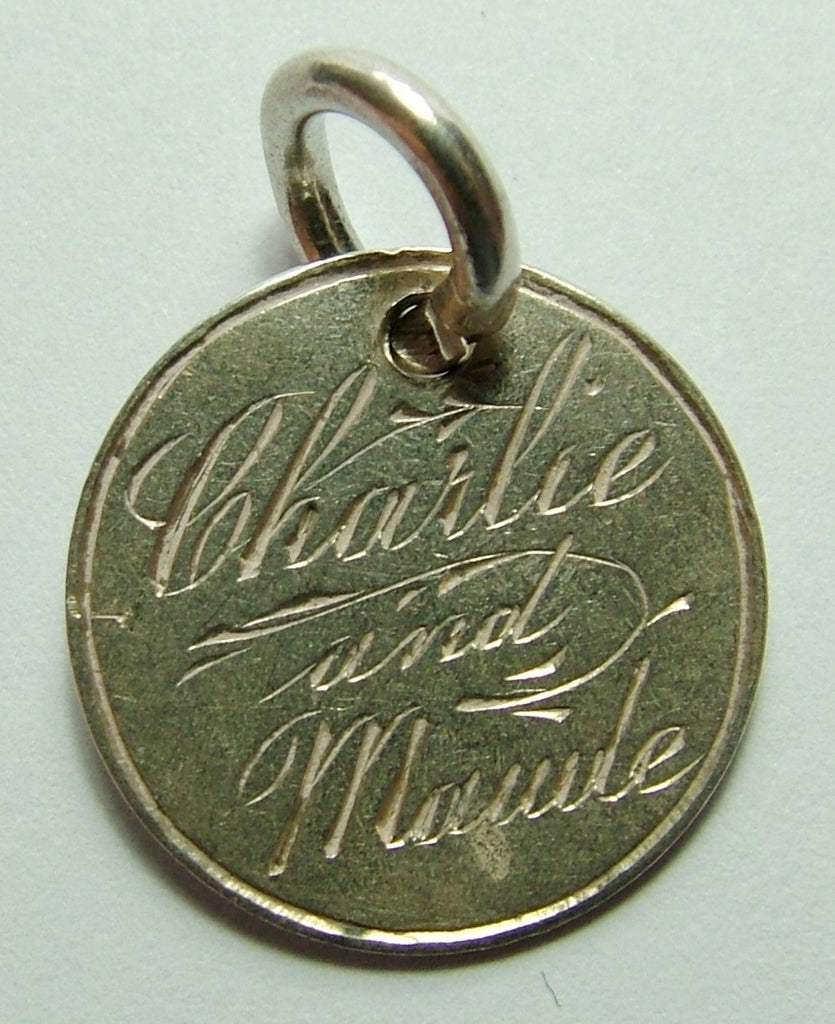 Victorian Silver Engraved Love Token Coin Charm CHARLIE AND MAUDE Love Token - Sandy's Vintage Charms