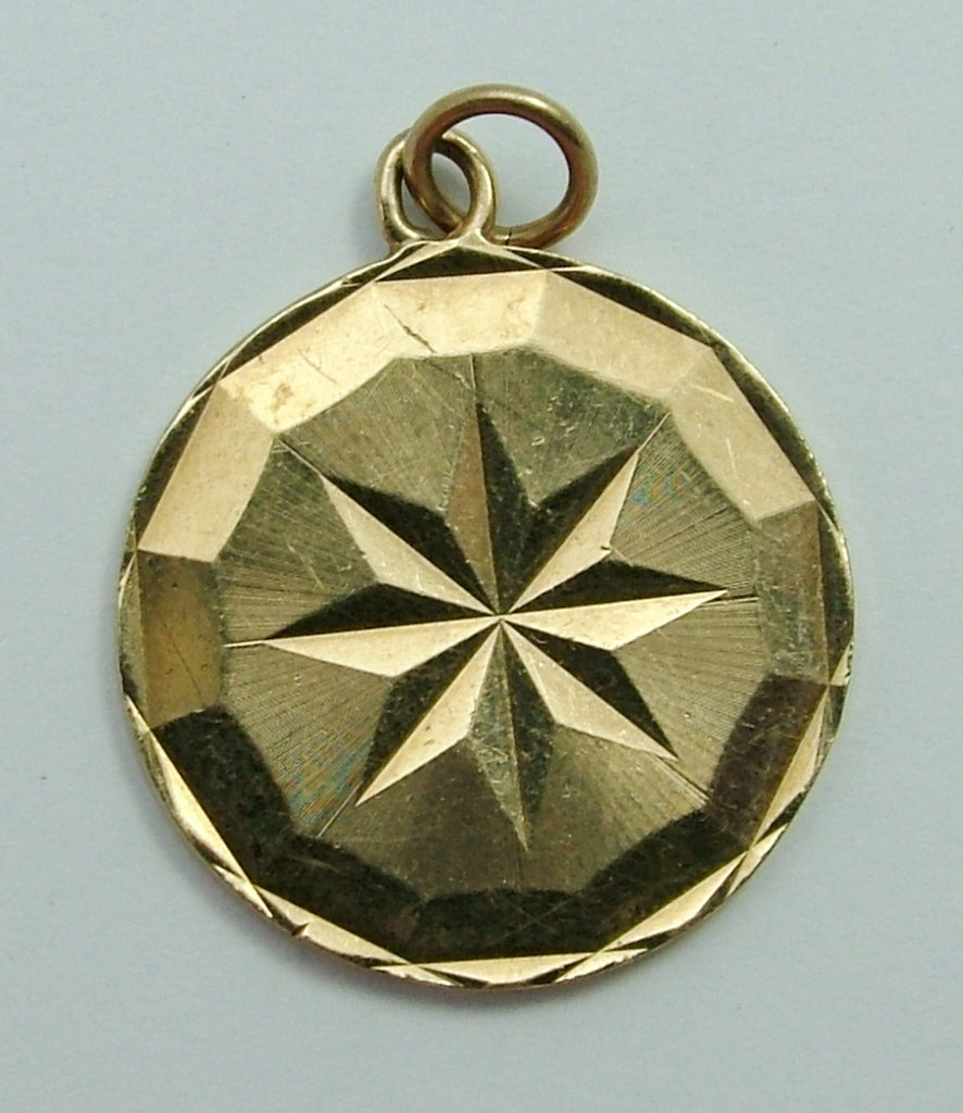 Vintage 1960's 9ct Gold Lucky Star Disc Charm Gold Charm - Sandy's Vintage Charms