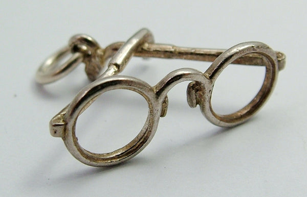 Vintage 1970's Solid Silver Charm of a Pair of Round Framed Glasses Silver Charm - Sandy's Vintage Charms