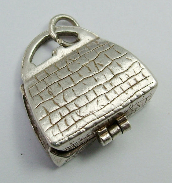 Vintage 1960's Silver Nuvo Opening Handbag Charm Vanity Items Inside Nuvo Charm - Sandy's Vintage Charms